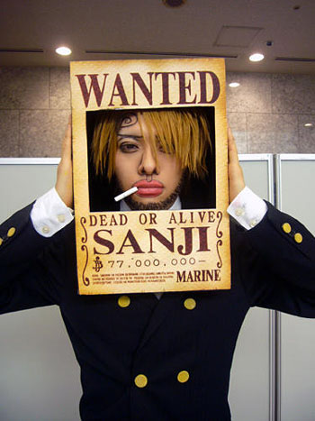 (同样也是航海王里的角色-香吉士,还自制成悬赏海报,有用心!)高清图片